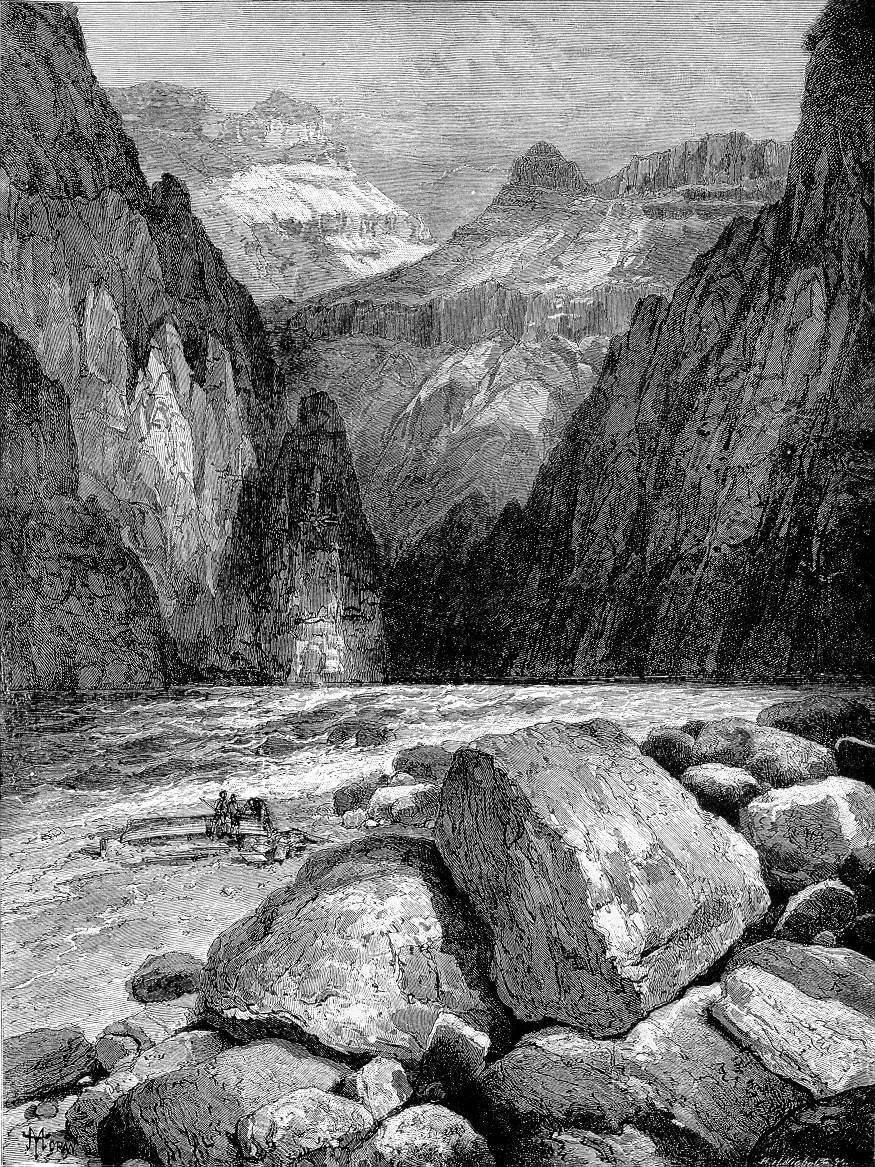 """Engraving, """"Granite Falls.─Kaibab Division.─Grand Cañon."""" By Thomas Moran."""